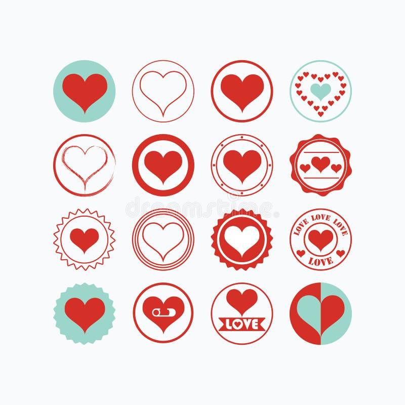 Os ícones vermelhos e azuis dos símbolos do coração ajustaram-se no fundo branco ilustração stock