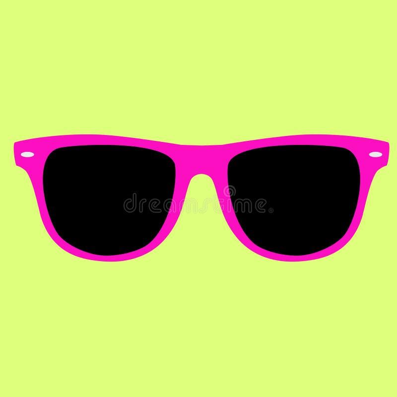 Os óculos de sol cor-de-rosa da cor do moderno isolaram o vetor em um fundo amarelo fotografia de stock royalty free