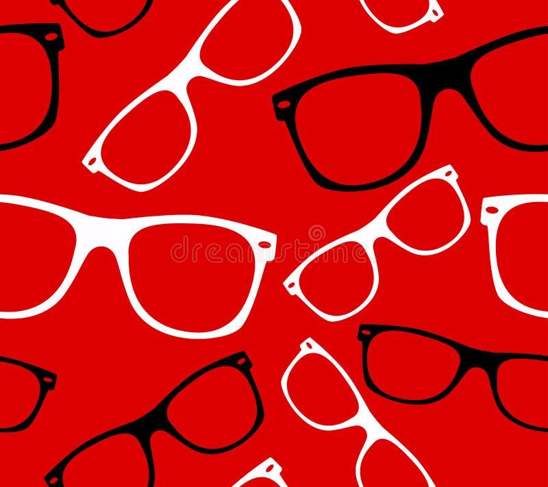 Os óculos de sol retros do moderno do teste padrão sem emenda dos vidros vector o fundo abstrato ilustração stock