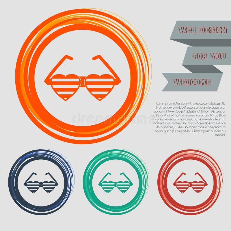 Os óculos de sol sob a forma do ícone do coração nos botões vermelhos, azuis, verdes, alaranjados para seu Web site e no projeto  ilustração royalty free