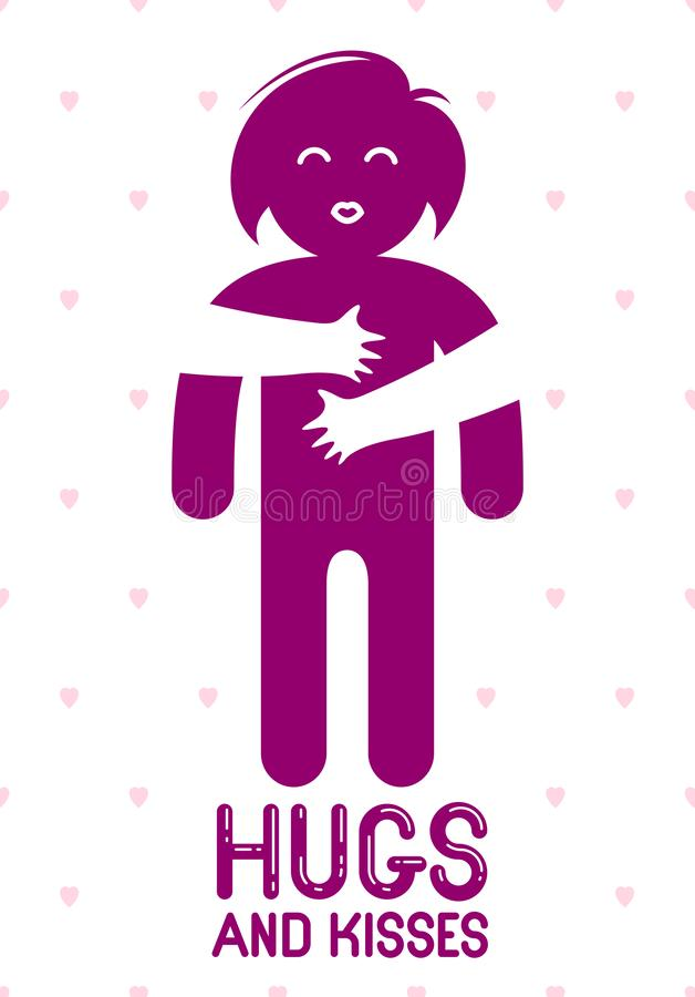 Os abraços e os beijos com mãos de amor dos bordos amados da pessoa e do beijo, mulher do amante que abraça seus companheiro e pa ilustração stock