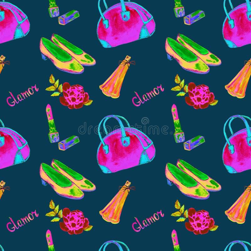 Os acessórios do encanto, tipo de rolamento saco, batom, perfume, sapatas de couro da corte, aumentaram, cores cor-de-rosa, verde ilustração stock