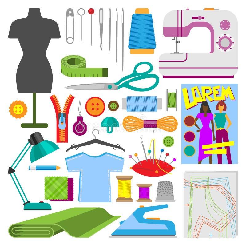 Os acessórios do passatempo que costuram o passatempo do bordado do equipamento das ferramentas vector a ilustração ilustração do vetor
