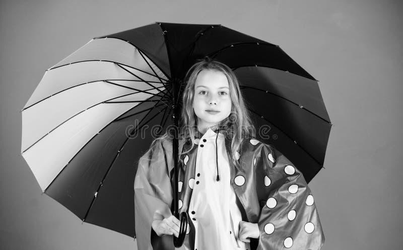 Os acessórios impermeáveis fazem o dia chuvoso alegre e agradável Guarda-chuva colorido da posse feliz da menina da criança para  foto de stock