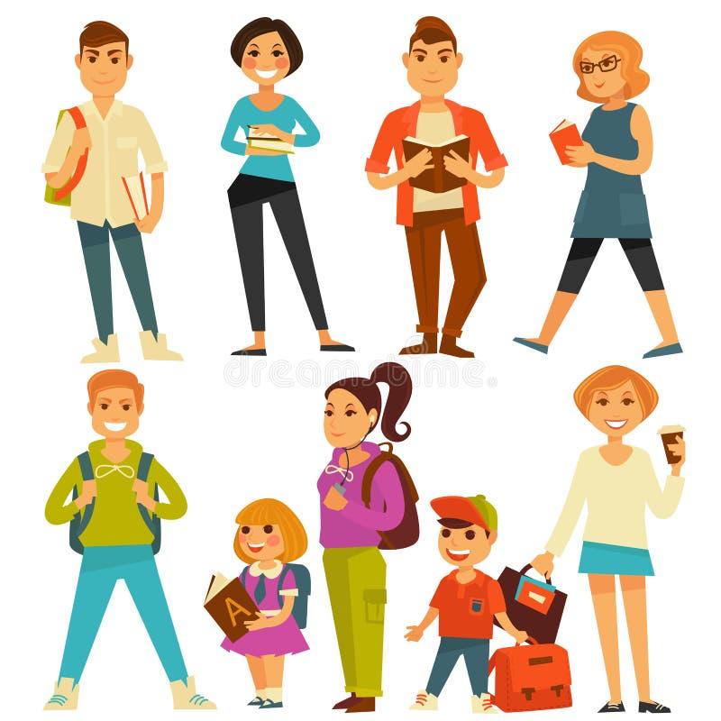 Os adolescentes e as crianças das estudantes universitário e dos alunos da escola vector ícones lisos ilustração royalty free