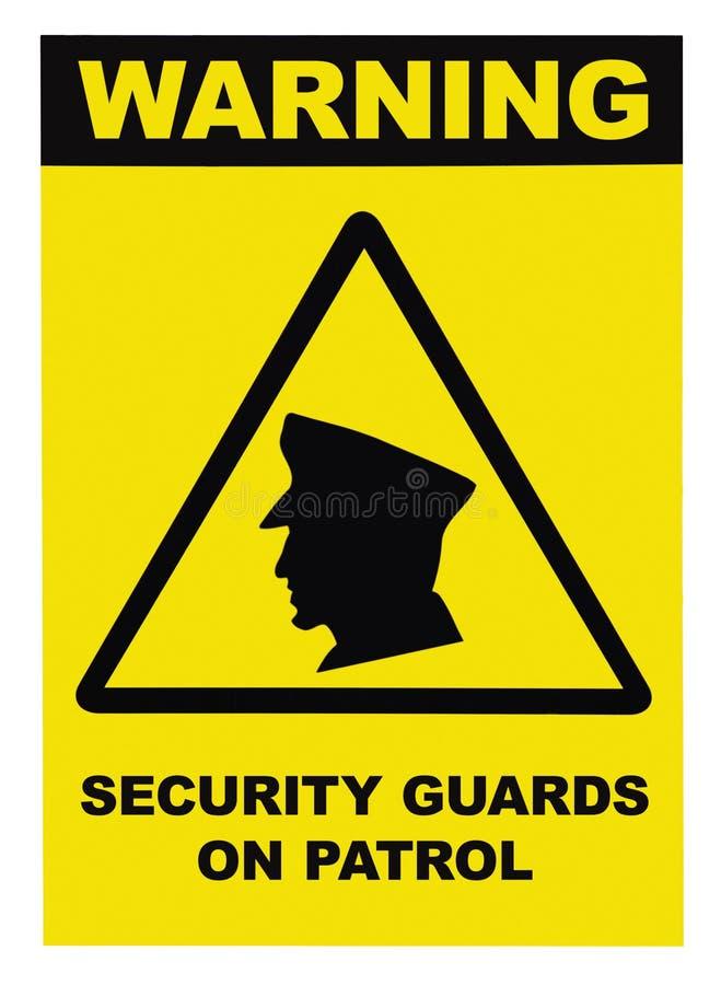 Os agentes de segurança em texto de advertência da patrulha assinam, isolado, preto, branco, grande close up detalhado do signage fotografia de stock