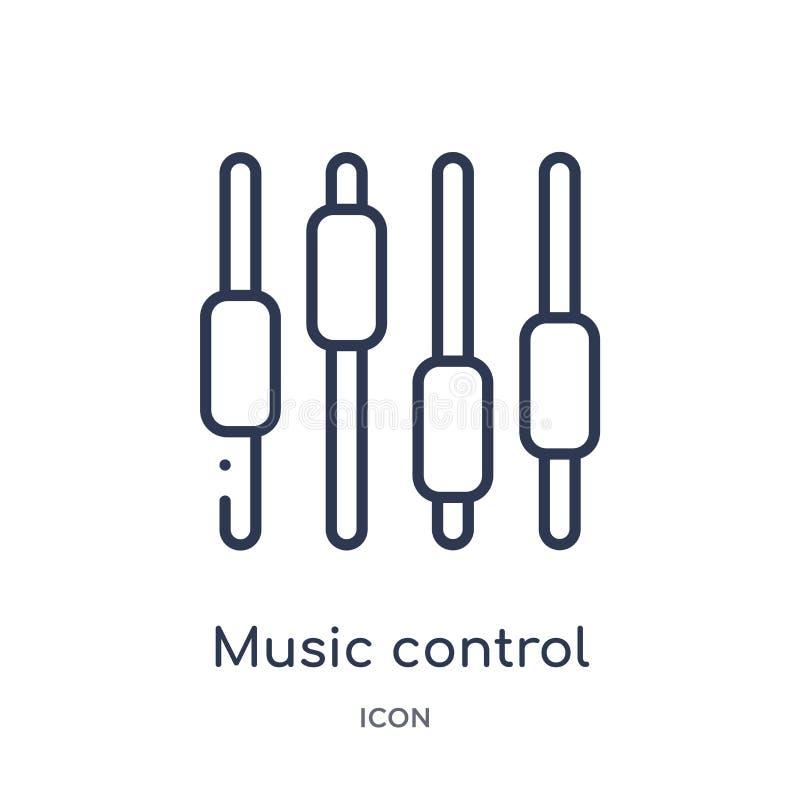 os ajustes do controle da música abotoam o ícone da coleção do esboço da música A linha fina ajustes do controle da música abotoa ilustração stock