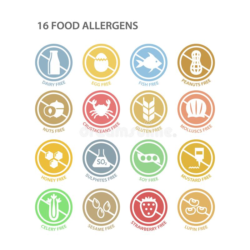 Os alérgenos circundam livre o grupo de etiqueta colorido dos ingredientes ilustração do vetor
