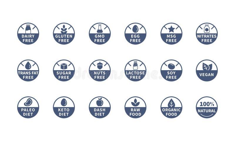 Os alérgenos, ingrediente etiquetam símbolos, ícones do vetor ilustração stock