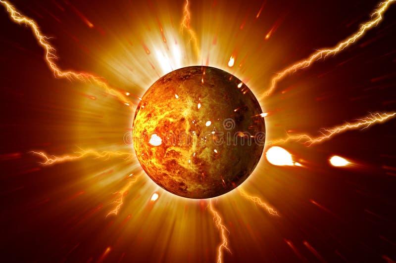 Os alargamentos vermelhos de Sun do planeta atacam a entrada em erupção ilustração do vetor