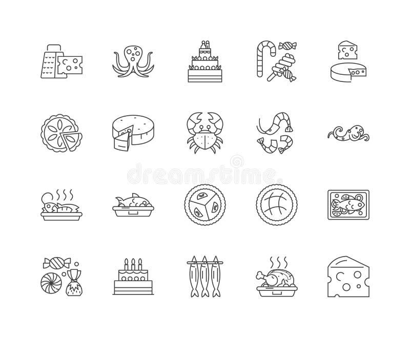 Os alimentos gourmet alinham ?cones, sinais, grupo do vetor, conceito da ilustra??o do esbo?o ilustração stock