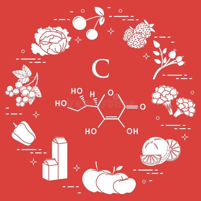 Os alimentos ricos na vitamina C ilustração do vetor