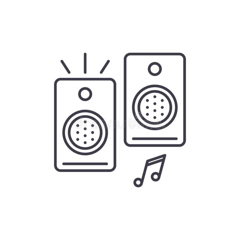 Os altifalante alinham o conceito do ícone Ilustração linear do vetor dos altifalante, símbolo, sinal ilustração royalty free