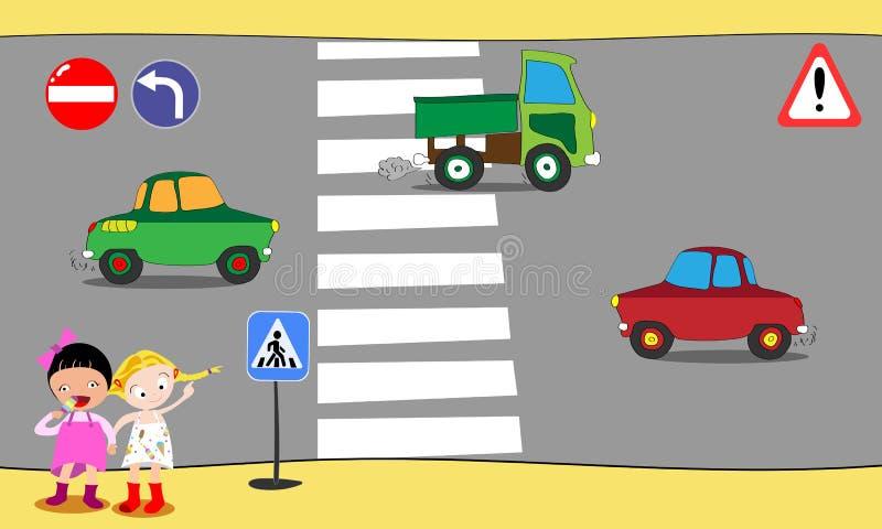Os alunos cruzam a estrada no cruzamento pedestre na baixa, perto da escola Ilustração do vetor ilustração royalty free