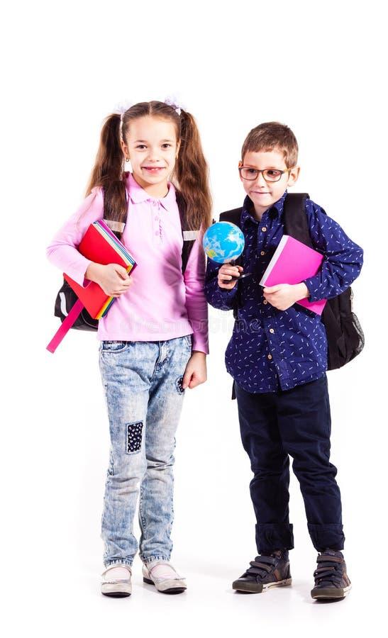 Os alunos estão prontos para a escola foto de stock
