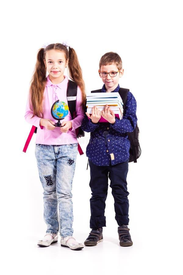 Os alunos estão prontos para a escola imagens de stock royalty free