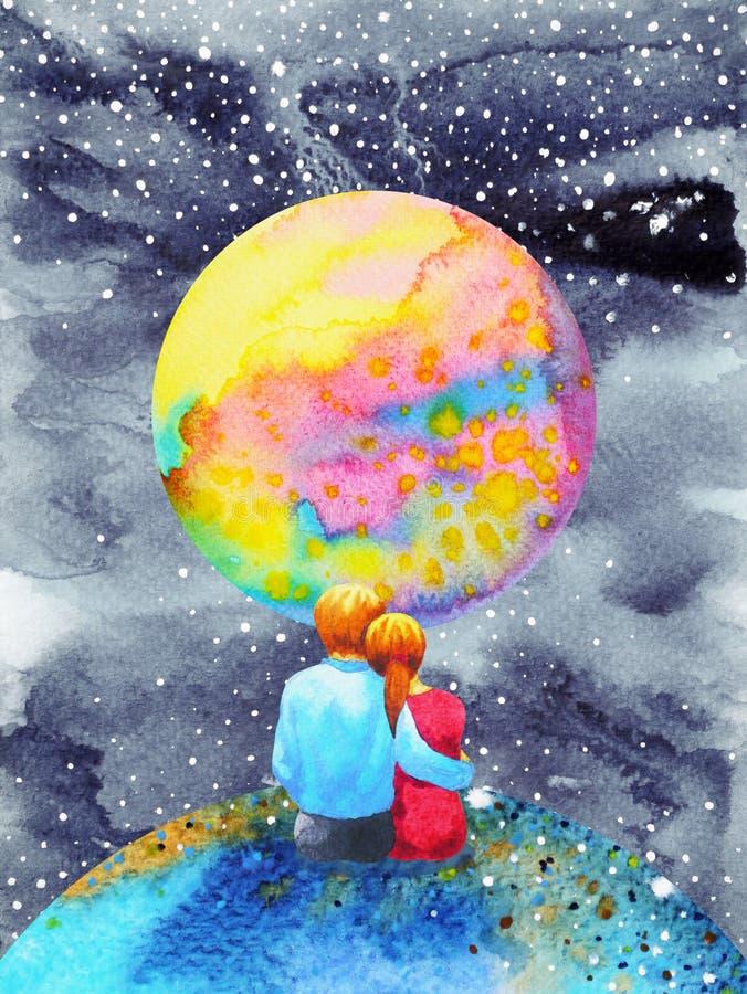 Os amantes acoplam o doce na pintura da aquarela do universo ilustração royalty free