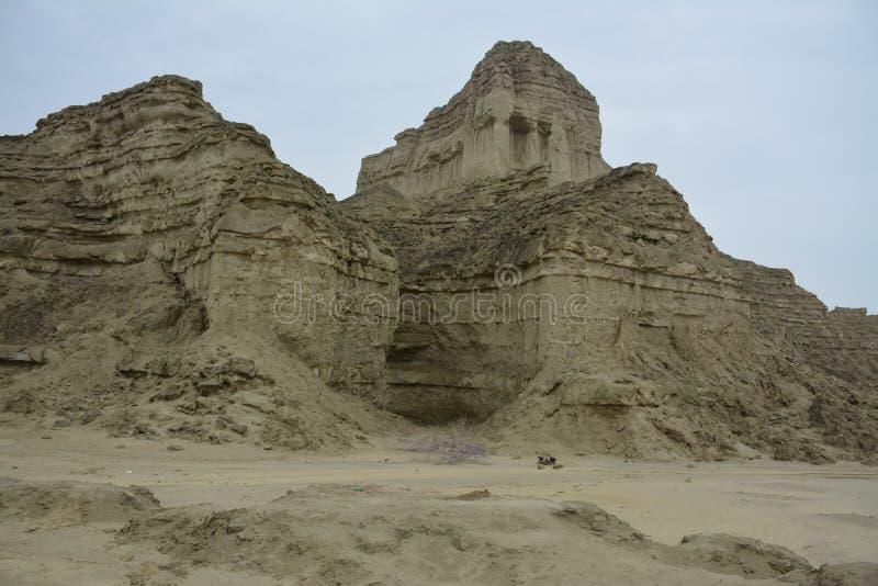 Os amantes da aventura do parque nacional Makran de Paquistão Hingol fotografia de stock royalty free