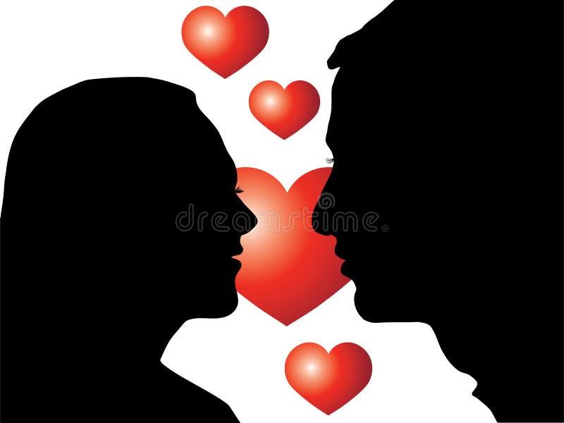 Os amantes mostram em silhueta com coração ilustração royalty free