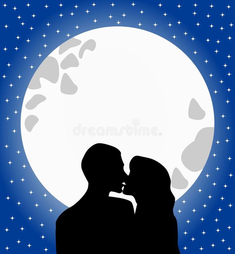 Os amantes mostram em silhueta o beijo no luar ilustração royalty free