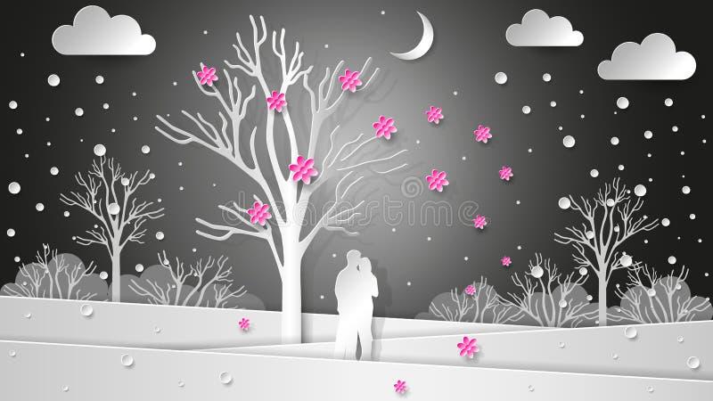 Os amantes no fundo do inverno ajardinam sob uma árvore de florescência Flores e neve do voo Natal de papel da textura, Valentin ilustração do vetor