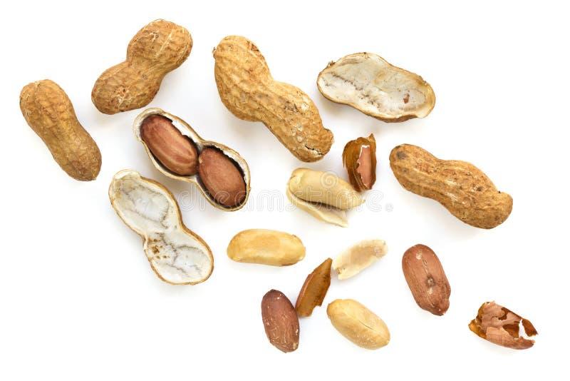 Os amendoins crus Roasted em Shell Top View isolaram-se imagens de stock royalty free