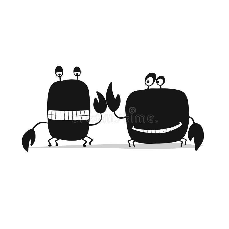 Os amigos engraçados crabs, silhueta preta para seu projeto ilustração royalty free