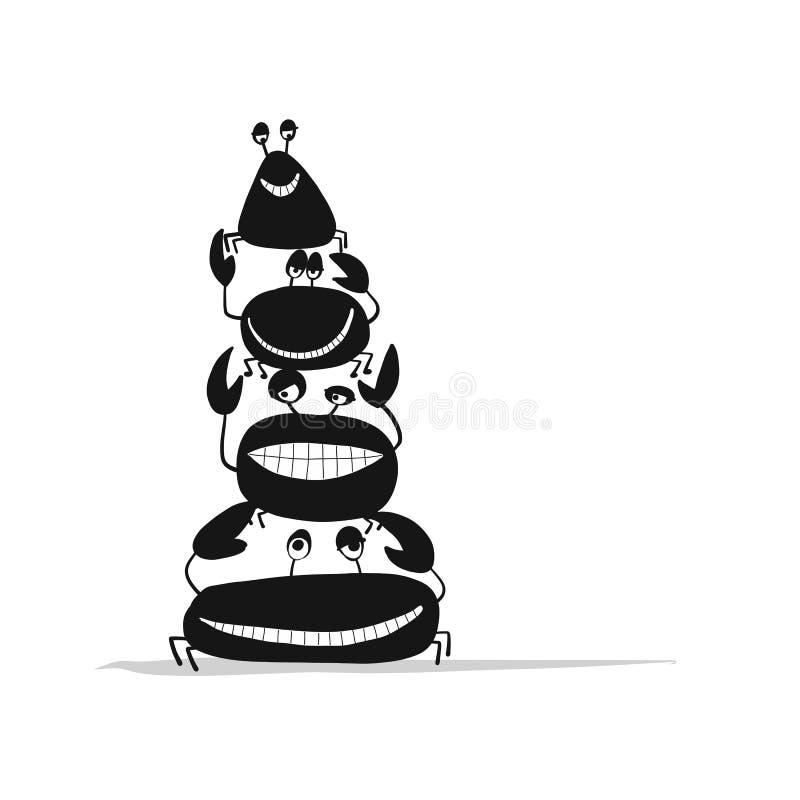 Os amigos engraçados crabs, silhueta preta para seu projeto ilustração stock
