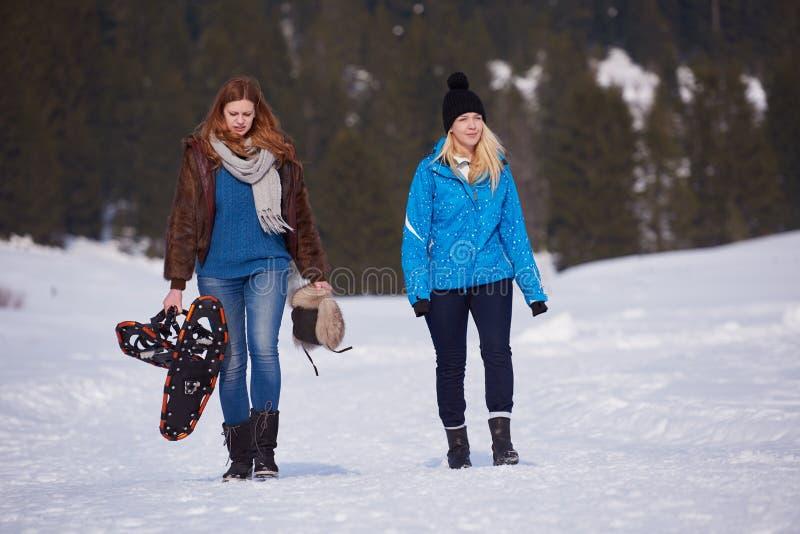 Os amigos fêmeas no dia de inverno bonito têm a caminhada relaxado na neve foto de stock royalty free