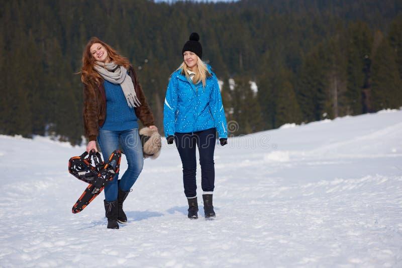 Os amigos fêmeas no dia de inverno bonito têm a caminhada relaxado na neve fotografia de stock royalty free