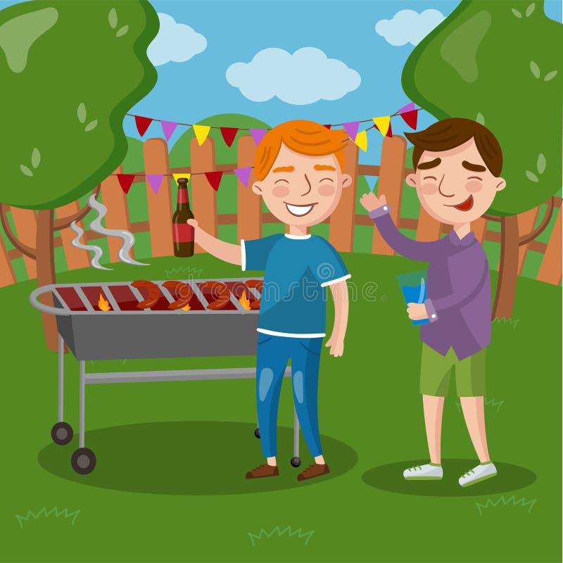 Os amigos felizes que têm o assado exterior, homens que cozinham a cerveja da carne, da fala e beber vector junto a ilustração ilustração royalty free
