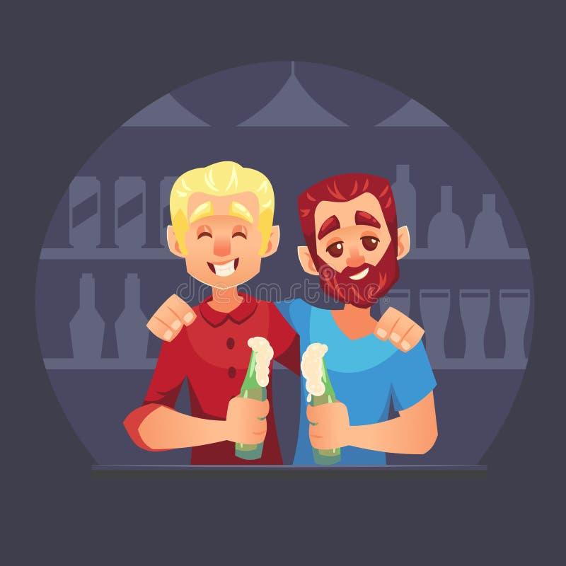 Os amigos na barra party a cerveja de comemoração e bebendo, desenhos animados da ilustração do vetor do brinde ilustração do vetor