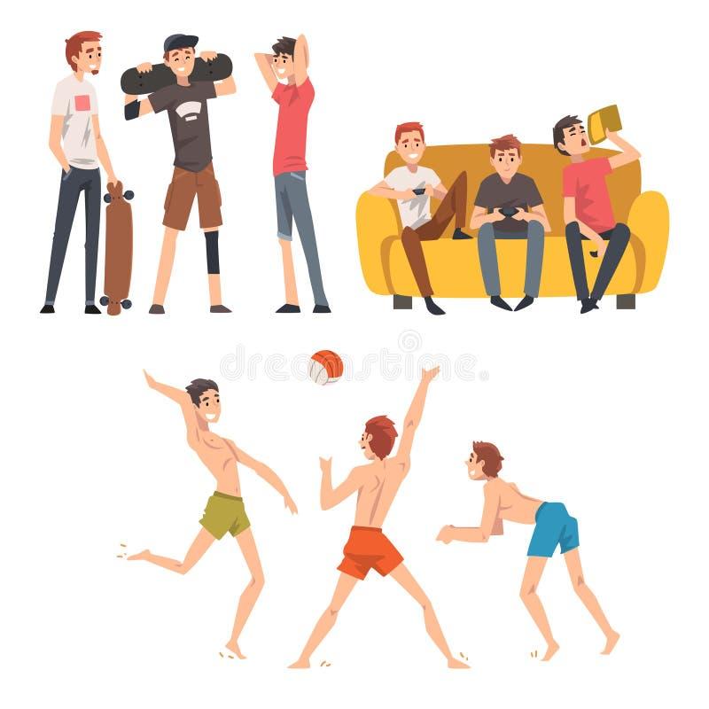 Os amigos que passam o bom tempo ajustaram-se junto, os indivíduos que falam, jogando jogos da bola e de computador, o vetor masc ilustração stock