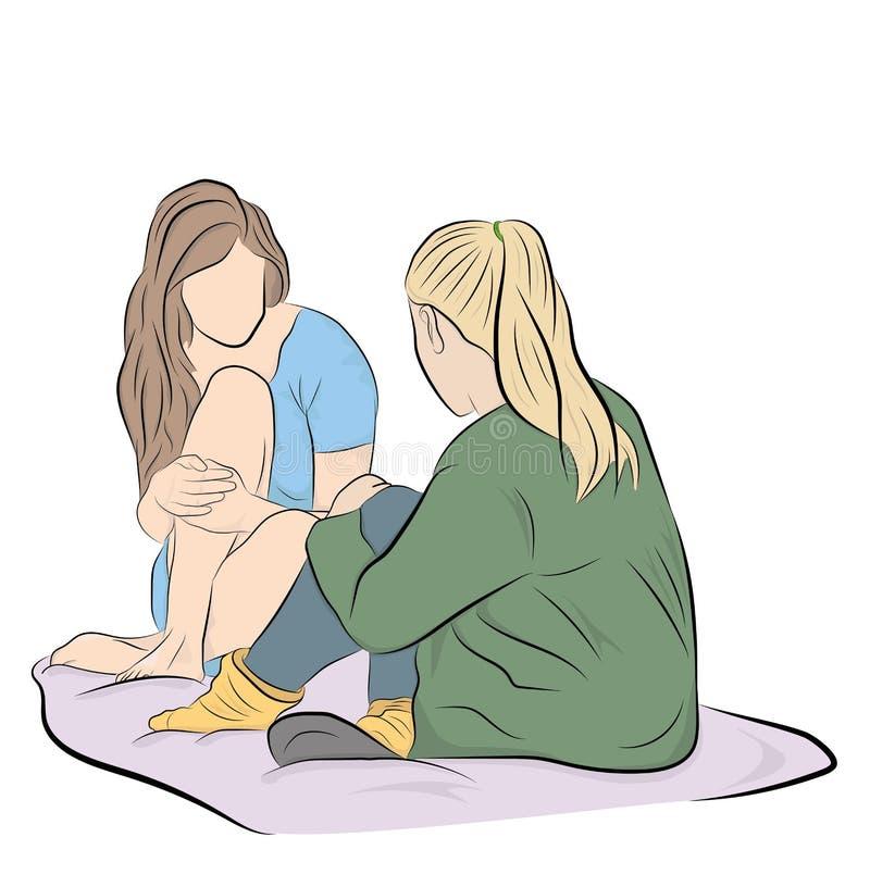 Os amigos sentam a fala Dia dos amigos Ilustra??o do vetor ilustração do vetor