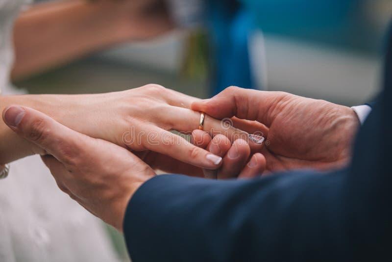 Os anéis da troca dos recém-casados, noivo põem o anel sobre a mão do ` s da noiva fotos de stock