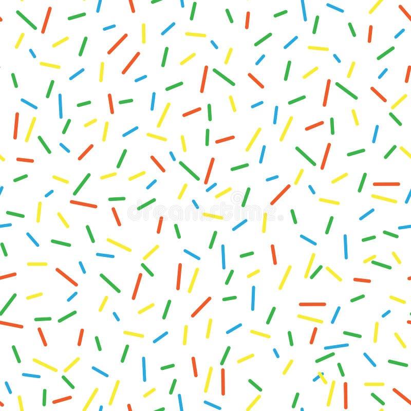 Os anéis de espuma saborosos brilhantes do vetor do teste padrão sem emenda polvilham o fundo Fundo da filhós no estilo dos desen ilustração do vetor