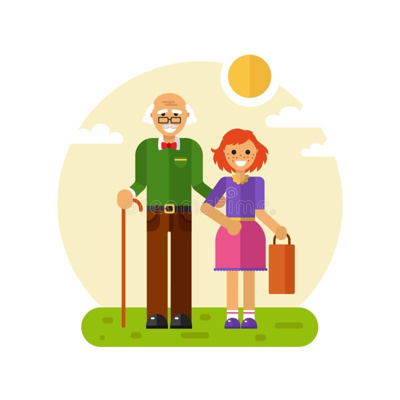Os anciões das ajudas da menina levam o saco ilustração royalty free