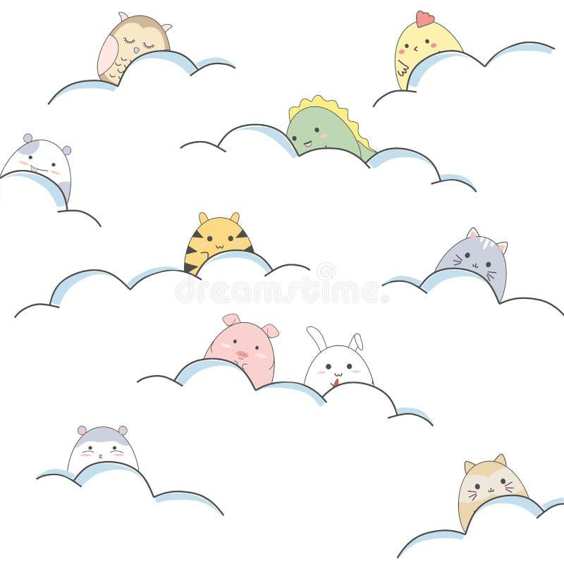 Os animais bonitos dos desenhos animados estão jogando nas nuvens ilustração do vetor