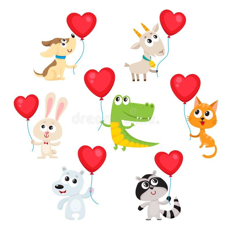 Os animais bonitos e engraçados do bebê que guardam o coração vermelho deram forma a balões ilustração stock