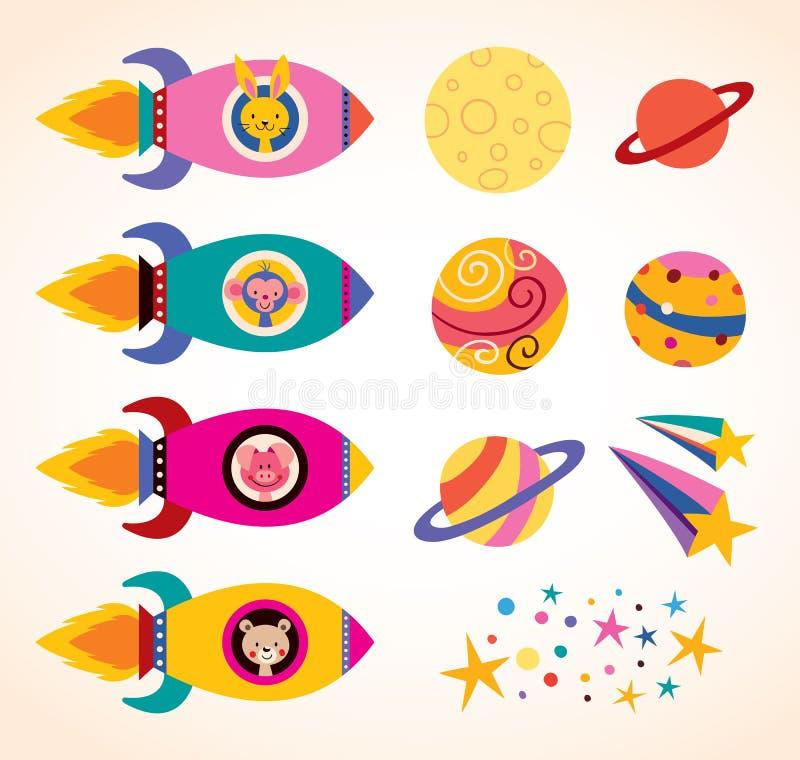 Os animais bonitos em crianças das naves espaciais projetam o grupo de elementos ilustração stock