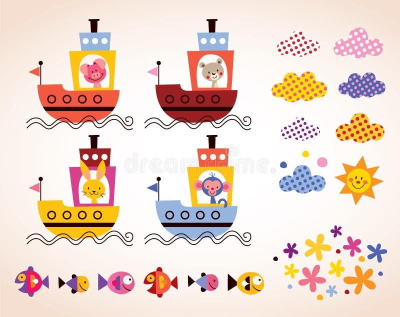 Os animais bonitos em crianças dos barcos projetam o grupo de elementos ilustração royalty free