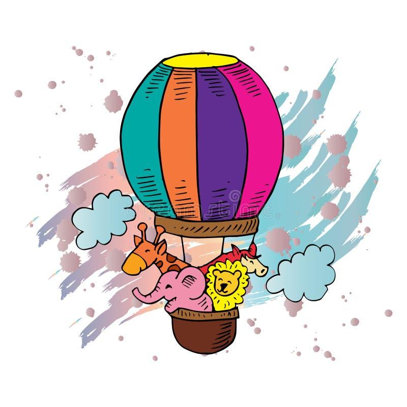 Os animais bonitos montam um balão de ar quente ilustração royalty free