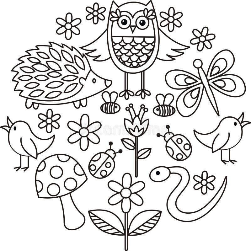 Os animais bonitos rabiscam o vetor no quadro do círculo ilustração do vetor