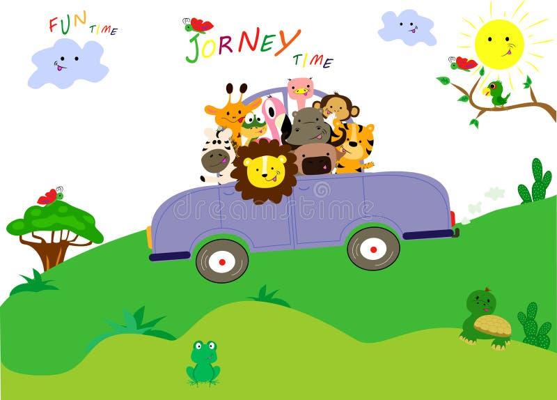 Os animais bonitos têm uma viagem agradável pelo carro Tempo do divertimento junto ilustração stock