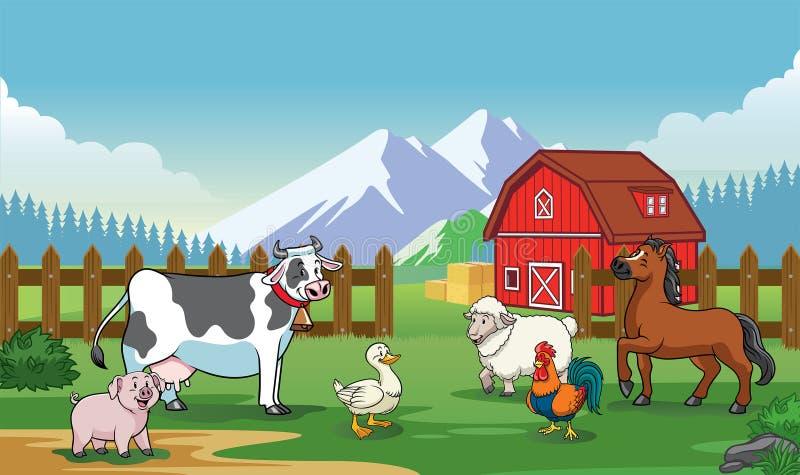 Os animais cultivam com estilo dos desenhos animados ilustração stock