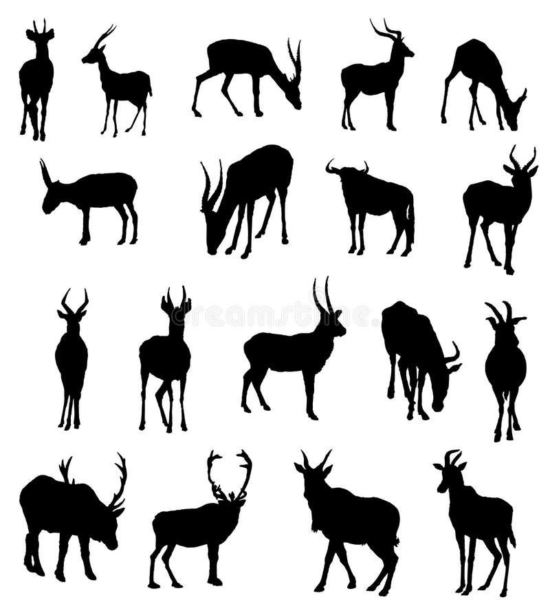 Os animais de África vector silhuetas ilustração do vetor