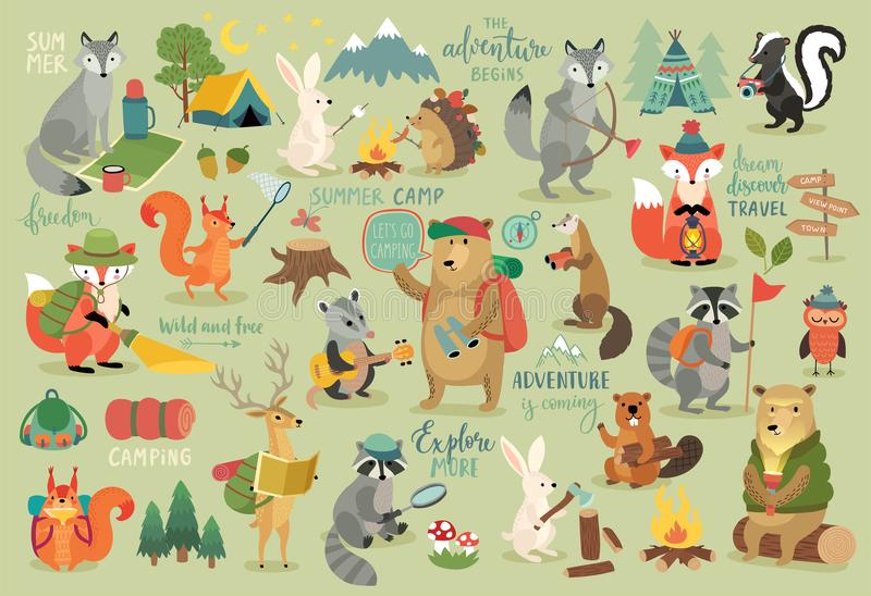 Os animais de acampamento entregam o estilo tirado, a caligrafia e os outros elementos ilustração royalty free