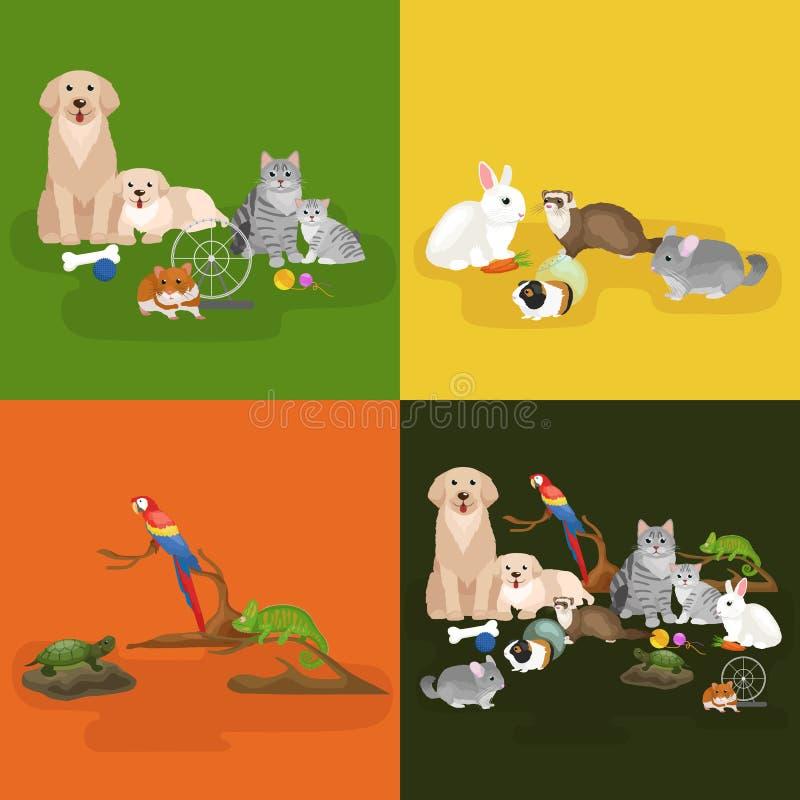 Os animais de estimação home ajustados, hamster do peixe dourado do papagaio do cão do gato, domesticaram animais ilustração royalty free
