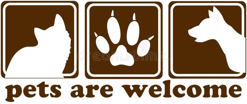 Os animais de estimação são sinal bem-vindo ilustração stock