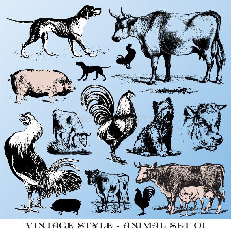 Os animais de exploração agrícola ajustaram-se ilustração royalty free